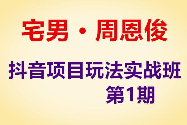 宅男,抖音项目玩法实战班1期(原价980)(完结)