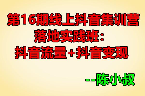 线上抖音集训营:抖音流量+抖音变现【陈小叔】(原价699)