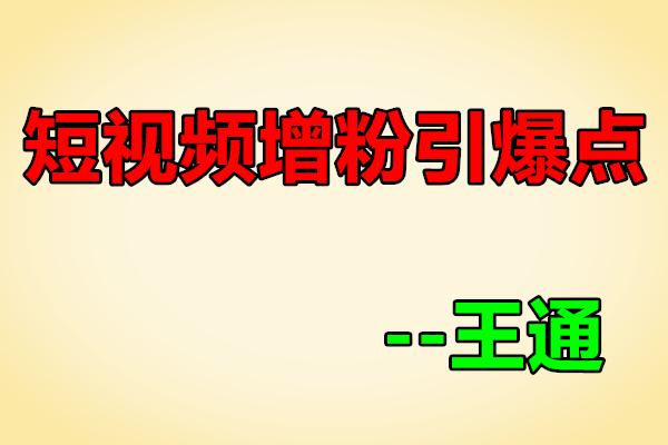 快手/抖音、短视频增粉引爆点【通王商学院-王通】(原价1000)