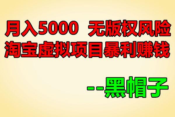 亲测月入5000,无版权风险的淘宝虚拟项目暴利赚钱玩法【黑帽子】(原价199)