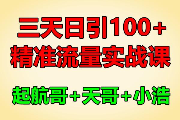 三天日引100+精准流量实战课程【起航哥,天哥,小浩】