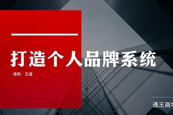 打造个人品牌系统【王通】