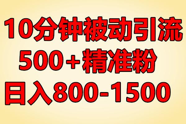 思维哥10分钟被动引流500+精准粉,日入800-1500(原价2480)