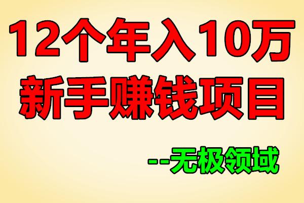 生财有道丨12个年入10W的新手赚钱项目【无极领域】(原价580)