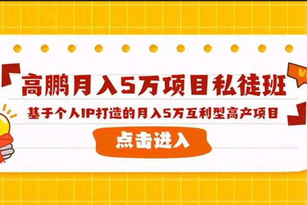 基于个人IP打造的月入5万互利型高产项目【高鹏】(原价2980)